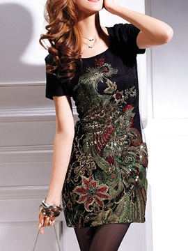Embroidered Sequins Short Day Dress