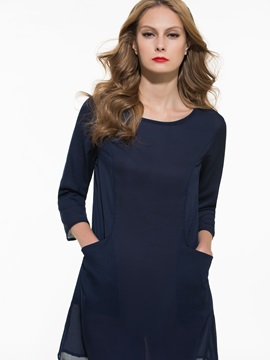 Solid Color 3/4 Sleeve Day Dress
