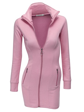 Solid Long Sleeve Day Dress with Zipper