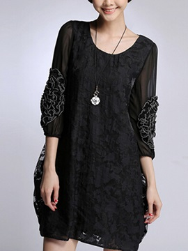Patchwork Round Neck Day Dress