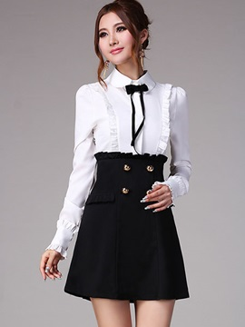 Contrast Color Empire Waist Lapel Day Dress