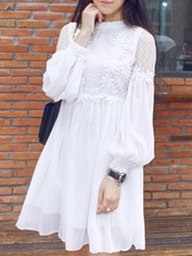 Solid Patchwork Long Sleeve Day Dress