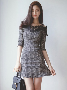 Patchwork Slash Neck Half Sleeve Bodycon Dress