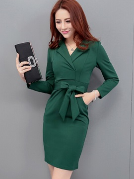 Solid Color Notched Lapel Bodycon Dress with Bowknot