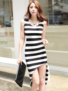 Stripe High-Low Round Neck Sleeveless Day Dress