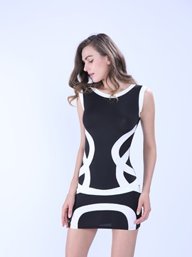 Contrast Round Neck Sleeveless Bodycon Dress