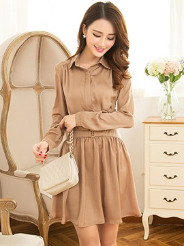 Chic Solid Color Lapel Sleeve Day Dress