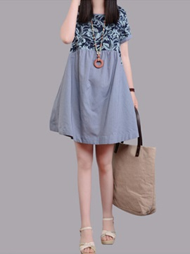Patchwork Short Sleeve Print Shift Dress