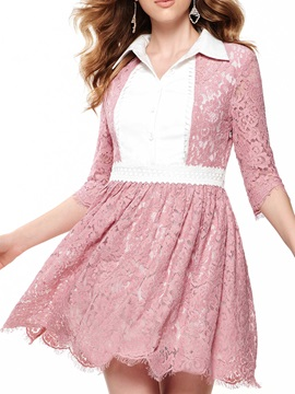 Sisjuly Contrast Patchwork 3/4 Sleeve Day Dress