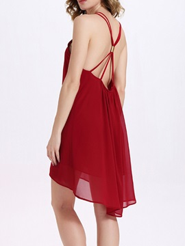 Sisjuly® High-Low Plain Sleeveless Day Dress
