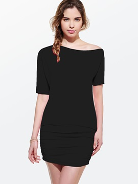 Solid Color Short Sleeve Day Dress