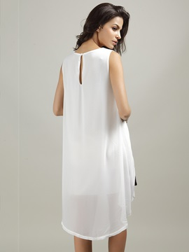 Contrast Color Sleeveless High-Low Shift Dress