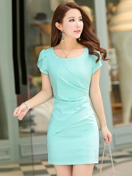 Solid Color Pleated Sheath Women's Day Dress