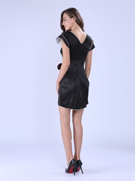 Chic V-Neck Ruffle Sleeve Asymmetric Work Dress