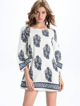 Sisjul Round Neck 3/4 Sleeve Print Day Dress