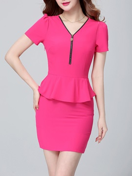 Falbala V Neck Short Sleeve Work Dress