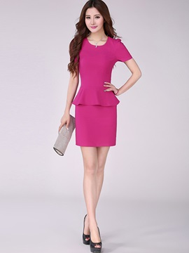 Plain Falbala Short Sleeve Work Dress