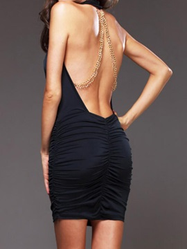 Chic Backless V Neck Ruffled Bodycon Dress