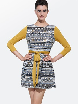 Geometric Patchwork Long Sleeve Lace-Up Day Dress