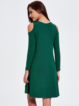 Off-the-Shoulder Long Sleeve High-Low Day Dress