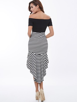 Vertical Striped Off-the-Shoulder High-Low Day Dress