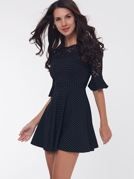 Vertical Striped Lace Patchwork Day Dress