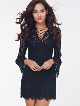 Chic V-Neck Flare Sleeve Women's Day Dress