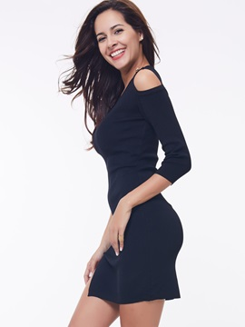 Off-the-Shoulder Button Split Long Sleeve Dress