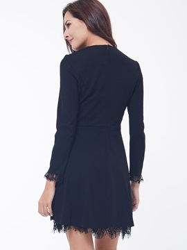 Solid Lace Patchwork A-Line Day Dress