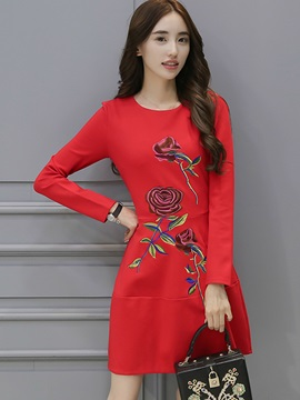 Floral Print Round Neck Ethnic Day Dress
