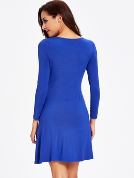 Solid Round Neck Long Sleeve Ruffled Day Dress