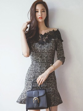 Off-the-Shoulder Lace Patchwork Mermaid Day Dress