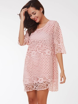 Floral Print Half Sleeve Hollow Lace Dress