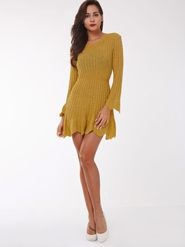 Solid Color Flare Sleeve See-Through Day Dress