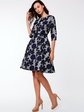 Floral Print Half Sleeve Zipper Day Dress