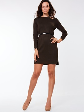 Nine Points Sleeve Hollow Belt Day Dress