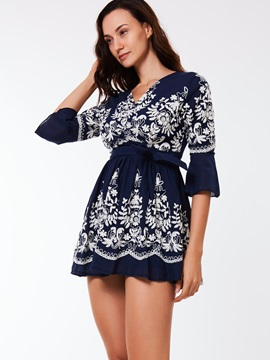 Floral 3/4 Sleeve Embroidery Day Dress