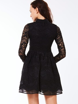 Stand Collar Lace Patchwork Day Dress