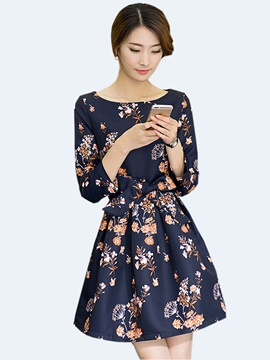 Floral Print Nine Points Sleeve Bowknot Day Dress