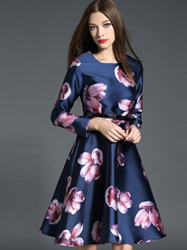 Floral Print Patchwork Belt Day Dress
