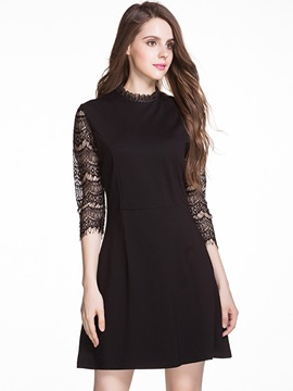 Solid Color 3/4 Sleeve Patchwork Day Dress