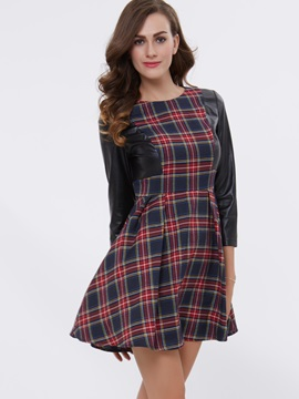 Plaid Nine Points Sleeve Patchwork Day Dress