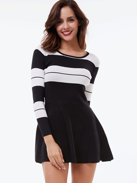 Vertical Striped Nine Points Sleeve A-Line Day Dress