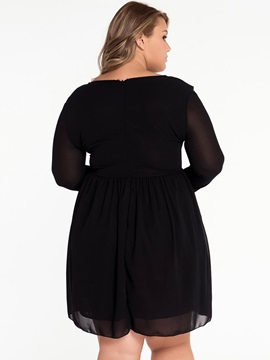 Solid Color Pullover See-Through Day Dress
