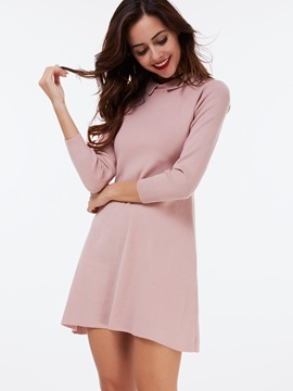 Nine Points Sleeve Lapel A-Line Day Dress