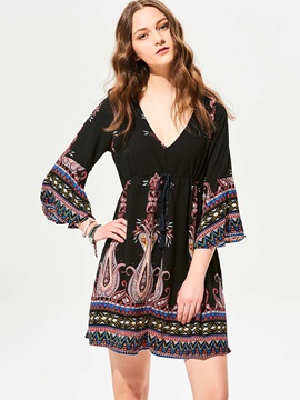 V-Neck Flower Print Flare Sleeves Day Dress