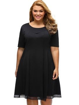 Round Neck Plus Size Short Day Dress