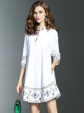 Floral Imprint Half Sleeve Short Day Dress