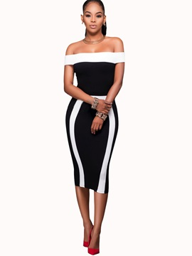Off Shoulder Color Block Sleeveless Women's Bodycon Dress