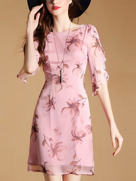 Nice Floral Imprint Chiffon Short Day Dress